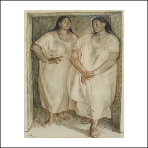 Art work by Francisco Zuñiga, Two Women in The Door, painting, 25.4 x 19.5 in (64.5 x 49.5 cm)