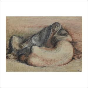 Art work by Francisco Zuñiga, Durmientes (Sleepers), painting, 19 1/2 x 25 1/2 in (50 x 65 cm)