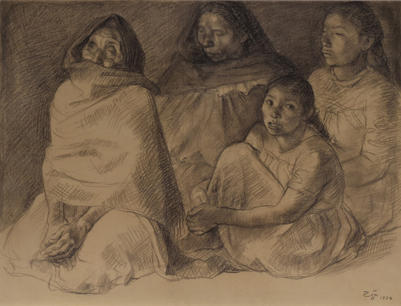 Art work by Francisco Zuñiga, Women in Front of Fire, painting, 19.5 x 25.4 in (50 x 65 cm)