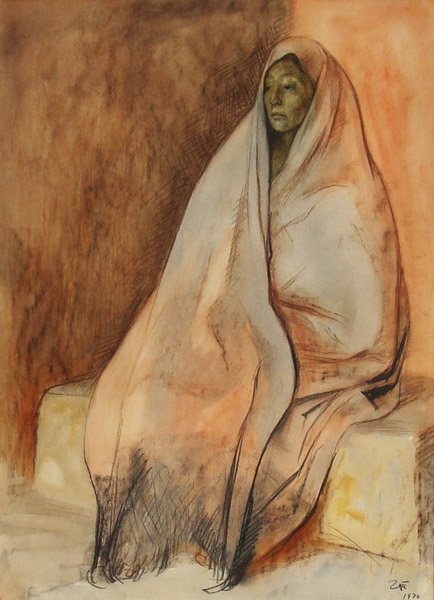 Art work by Francisco Zuñiga, Seated Woman with Shawl, painting, 25.4 x 19.5 in (64.5 x 49.5 cm)