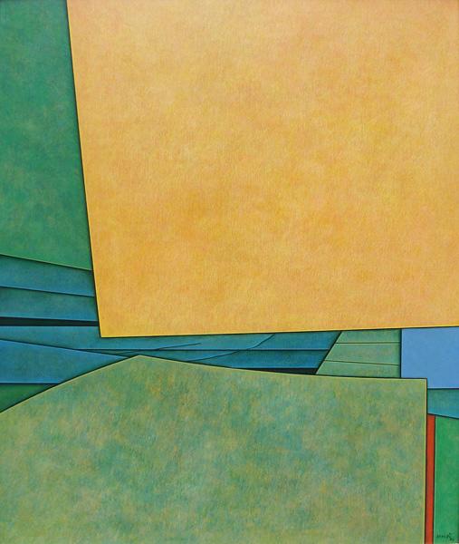 Art work by Gunther Gerzso, Amarillo-verde-azul, painting, 65 x 54 cm