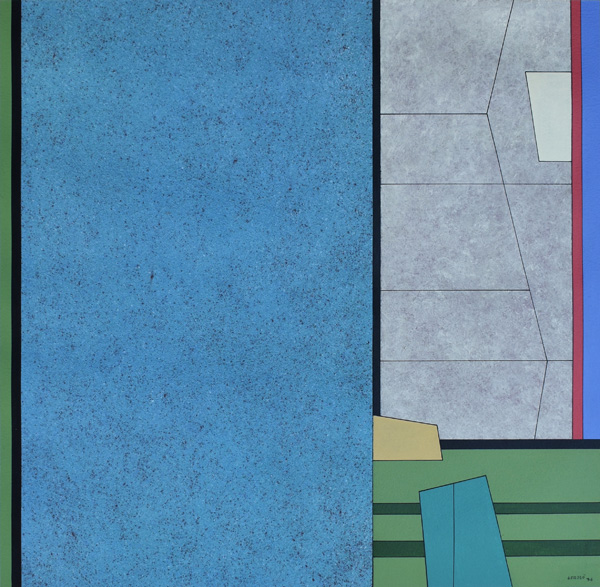 Art work by Gunther Gerzso, Blanco-Azul-Rojo-Verde, painting, 17 3/4 x 18 1/2 in (45.4 x 46.9 cm)