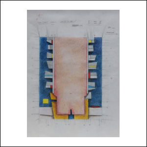 Art work by Gunther Gerzso, Untitled (Original drawing for an edition of silkscreens), painting, 23.5 x 17.75 inches (60 x 45 cm)