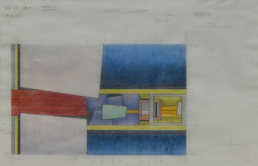 Art work by Gunther Gerzso, Bon a tirer (Project for silkscreen), painting, 16 1/2 x 25 1/4 in (42 x 64.5 cm)