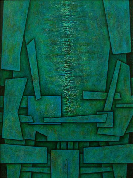 Art work by Gunther Gerzso, La Mujer de la Jungla, Versión 7, painting, 24 x 18.1 in (61 x 46 cm)