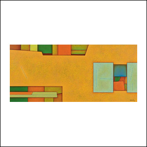 Art work by Gunther Gerzso, Landscape (Paisaje), painting, 14.5 x 31.7 in (36.8 x 80.6 cm)