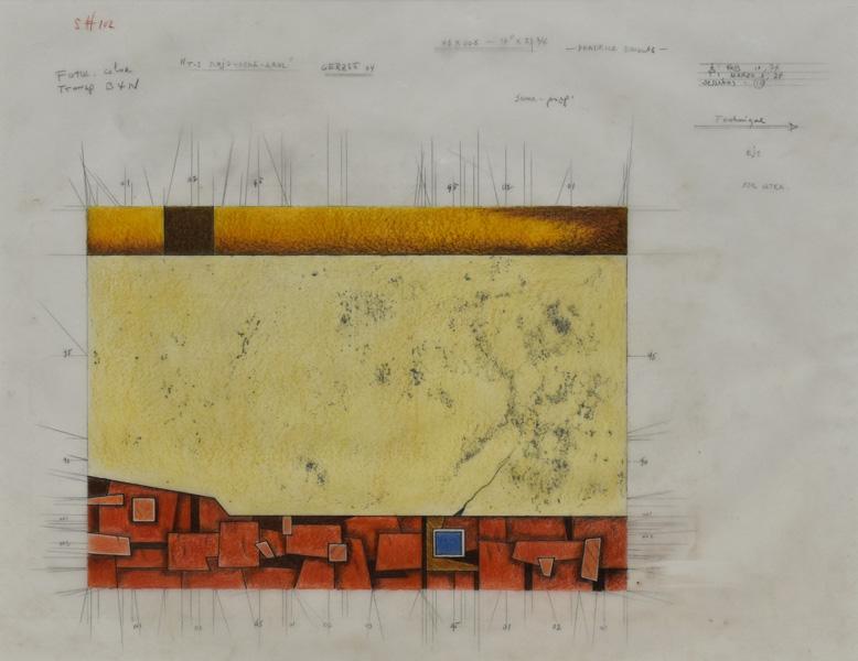 Art work by Gunther Gerzso, BON A TIRER, ROJO-OCRE-AZUL (Project for silkscreen), painting, 17 3/4 x 21 1/2 in (45 x 55 cm)