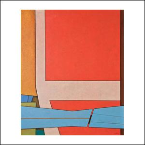 Art work by Gunther Gerzso, Rojo-Blanco-Azul, painting, 24.25 x 19.5 in (62 x 50 cm)