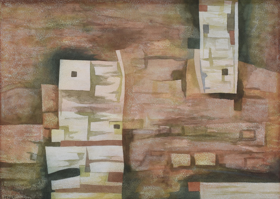 Art work by Gunther Gerzso, Tihuanacu Revisited, painting, 12 3/8 x 17 1/4 inches (31.5 x 44 cm)