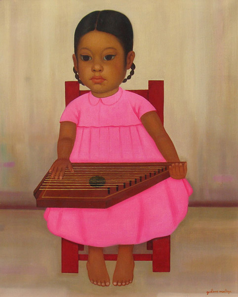 Art work by Gustavo Montoya, Girl with Pink Dress, painting, 22.25 x 17.3 in (56.5 x 44 cm)