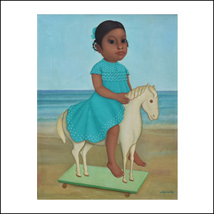 Art work by Gustavo Montoya, Girl on a Horse, painting, 24.25 x 18.25 in (61.5 x 46.4 cm)