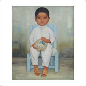Art work by Gustavo Montoya, Niño con alcancía, painting, 21 1/2 x 17 3/4 in  (55 x 45.2 cm)
