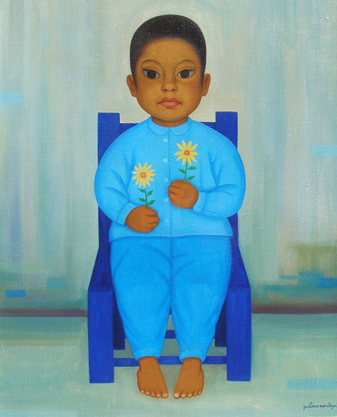 Art work by Gustavo Montoya, Boy in Blue, painting, 22.44 x 18.11 in (57 x 46 cm)