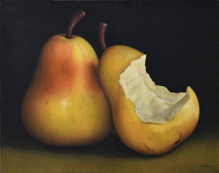 Art work by Gustavo Valenzuela, Bitten Pear (Pera Mordida), painting, 31 1/2 x 39 1/4 inches (80 x 100 cm)