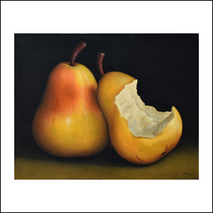 Art work by Gustavo Valenzuela, Bitten Pear (Pera Mordida), painting, 31 1/2 x 39 1/4 inches (80 x 100 cm)