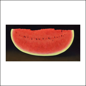 Art work by Gustavo Valenzuela, Slice of Watermelon, painting, 19.75 x 38.5 in (50 x 100 cm)