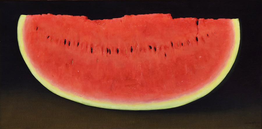 Art work by Gustavo Valenzuela, Slice of Watermelon, painting, 19.75 x 38.5 in (50 x 100 cm)