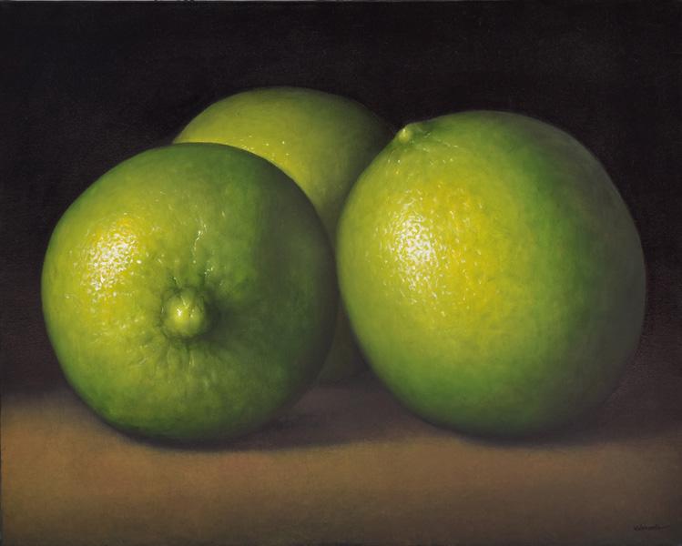 Art work by Gustavo Valenzuela, Three limes, painting, 31 1/2 x 39 1/4 inches (80 x 100 cm)
