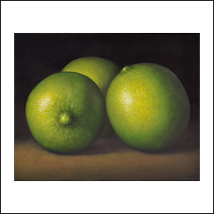 Art work by Gustavo Valenzuela, Three limes, painting, 31 1/2 x 39 1/4 inches (80 x 100 cm)