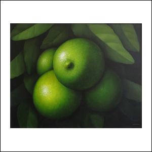 Art work by Gustavo Valenzuela, Limes with leaves, painting, 31.5 x 39.5 in (80 x 100 cm)