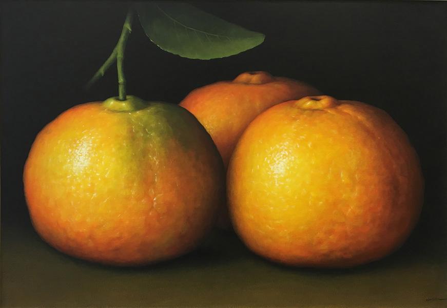 Art work by Gustavo Valenzuela, Tangerines, painting, 35.5 x 51.2 in (90 x 130 cm)