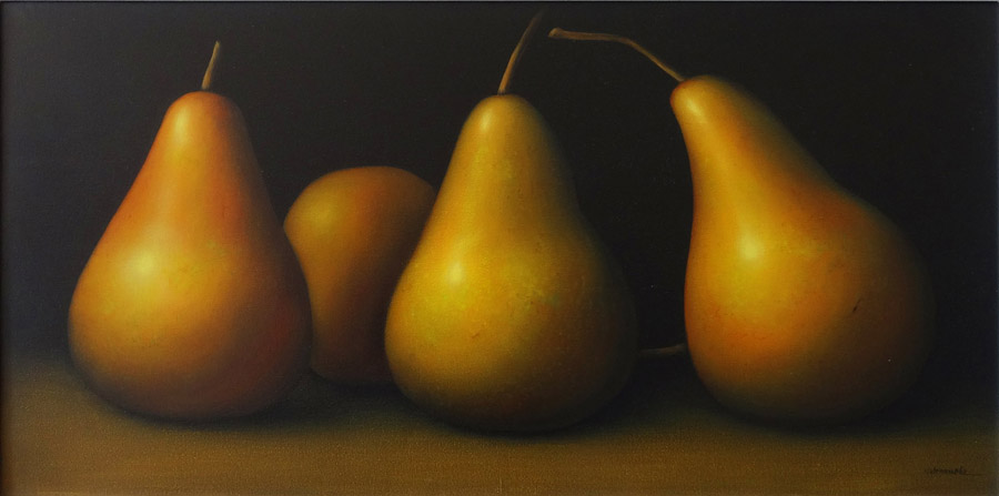 Art work by Gustavo Valenzuela, Pears, painting, 19.75 x 39 in (50 x 100 cm)