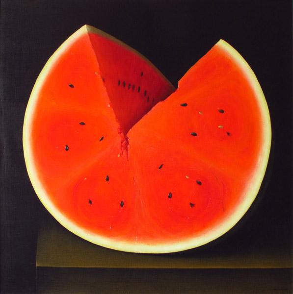Art work by Gustavo Valenzuela, Watermelon, painting, 51.2 x 51.2 in (130 x 130 cm)