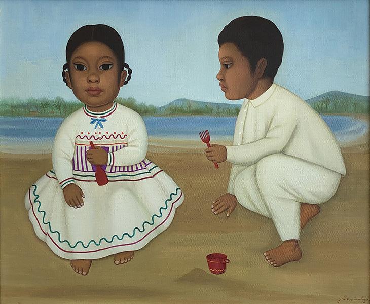 Art work by Gustavo Montoya, Children in the Beach, painting, 20 x 24 inches (51 x 61 cm)