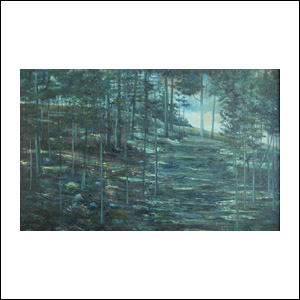 Art work by Joaquin Clausell, Bosque Azul, painting, 87 x 147 cm
