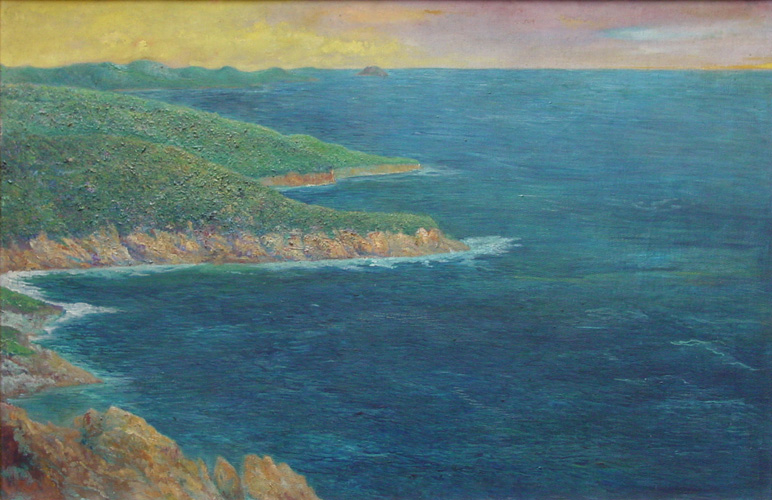Art work by Joaquin Clausell, Manzanillo, painting, 27.75 x 42 in (70.5 x 107 cm)