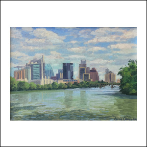 Art work by Jorge Obregon, Austin and the Colorado River from Zilker Park, painting, 9 x 12 (23 x 30.5)