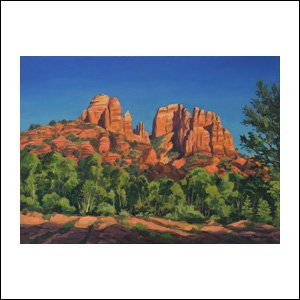 Art work by Jorge Obregon, Cathedrals at Sedona, painting, 16 x 21.75 in (40 x 55 cm)