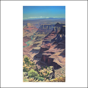 Art work by Jorge Obregon, Colorado River from Desert View, painting, 39.5 x 21.75 in (100 x 55 cm)