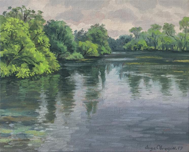 Art work by Jorge Obregon, Comal River at Landa Park, painting, 10 x 15.5 in (26 x 32 cm)
