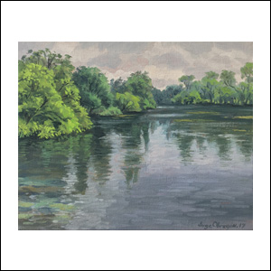 Art work by Jorge Obregon, Comal River at Landa Park, painting, 10 x 15.5 in (26 x 32 cm)