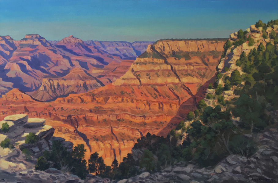 Art work by Jorge Obregon, Grand Canyon at Sunset, painting, 23.75 x 35.5 in (60 x 90 cm)