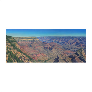 Art work by Jorge Obregon, Grand Canyon from Grand View, painting, 20 x 47.25 in (50 x 120 cm)