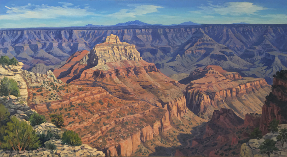 Art work by Jorge Obregon, Grand Canyon from North Rim Cape Royal, painting, 23.75 x 43.5 in (60 x 110 cm)