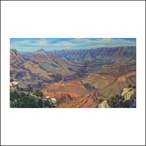 Art work by Jorge Obregon, Grand Canyon from Shoshone Point, painting, 21.75 x 39.5 in (55 x 100 cm)