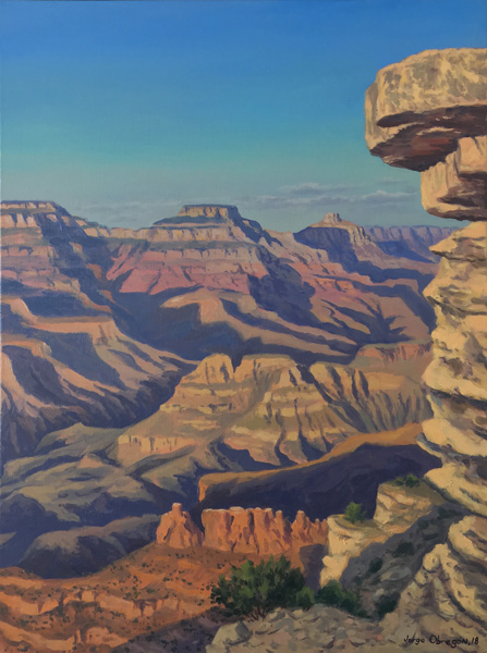Art work by Jorge Obregon, Grand Canyon South Rim, painting, 24 x 18 in (60 x 46 cm)