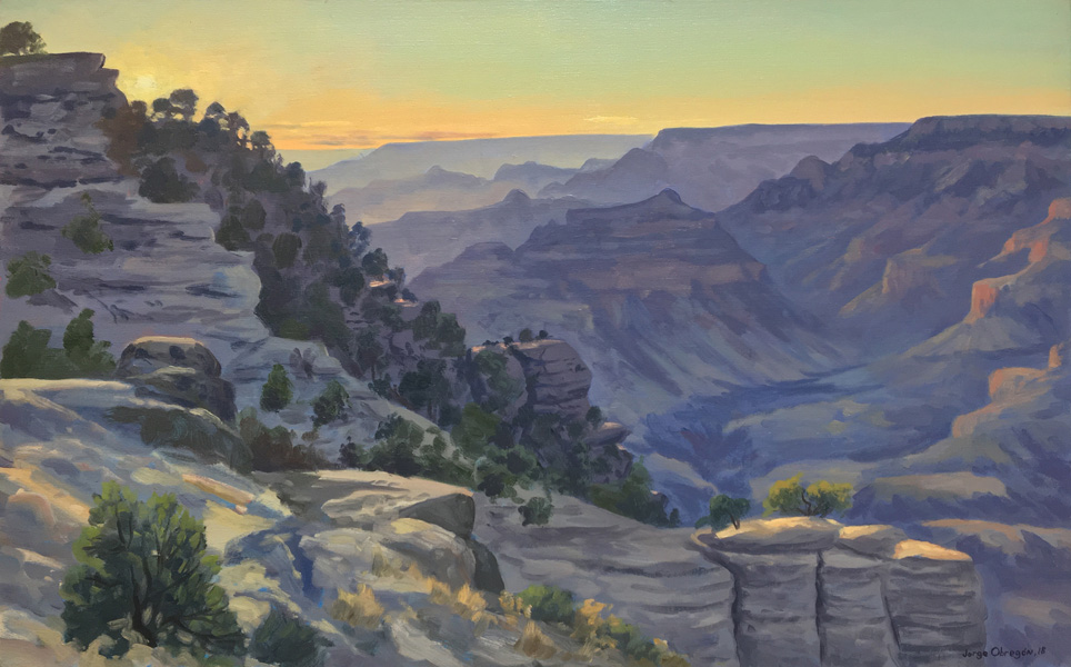 Art work by Jorge Obregon, Grand Canyon Sunset, painting, 20 x 31.75 in (50 x 80 cm)