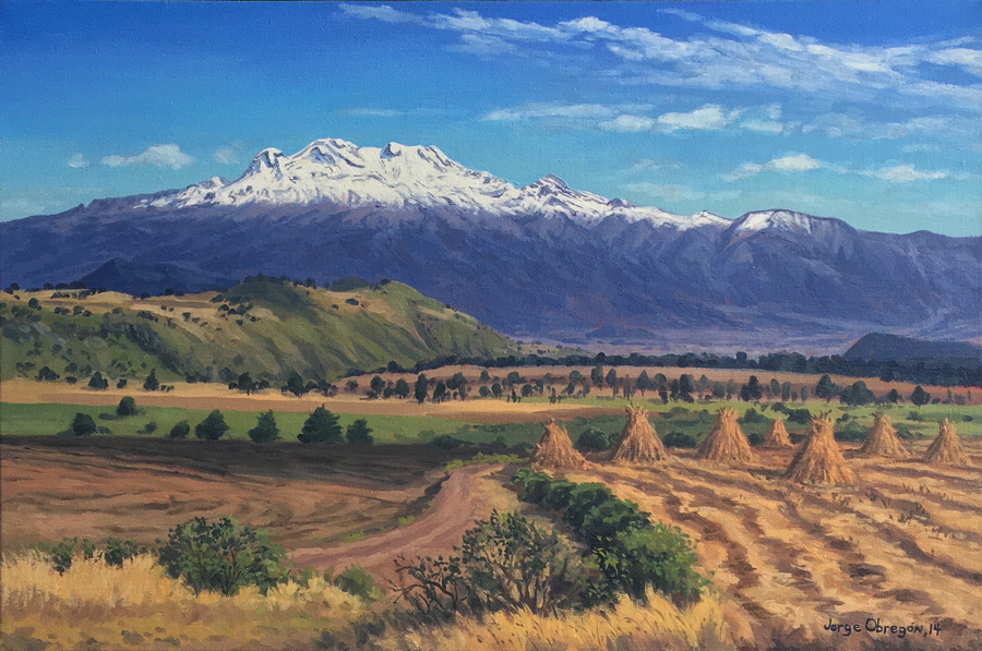 Art work by Jorge Obregon, Iztaccihuatl, painting, 15 3/4 x 23 1/2 inches (40 x 60 cm)