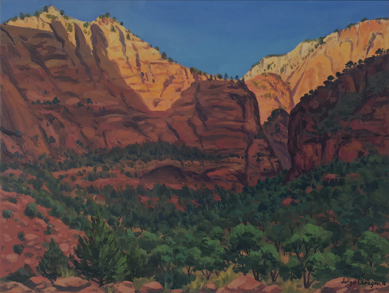 Art work by Jorge Obregon, Last Light in Zion, painting, 12 x 16 in (30 x 40 cm)