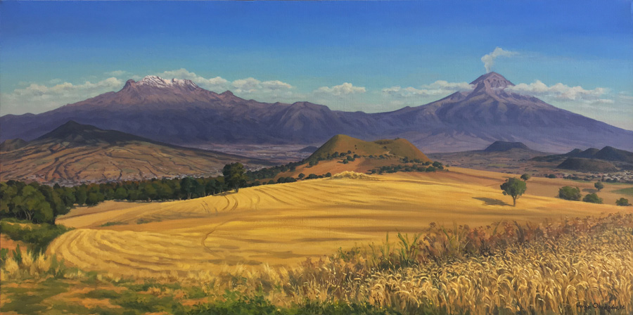 Art work by Jorge Obregon, Los volcanes con campos de trigo, painting, 23 1/2 x 47 inches (60 x 120 cm)