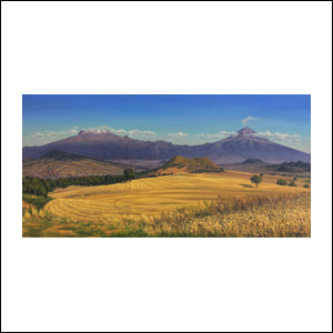 Art work by Jorge Obregon, Los volcanes con campos de trigo, painting, 23 1/2 x 47 inches (60 x 120 cm)