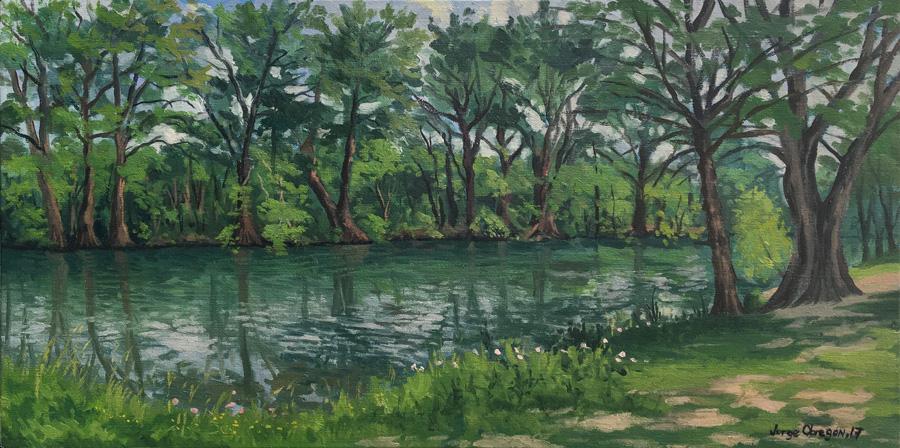 Art work by Jorge Obregon, Medina River at Blanco (Texas), painting, 12 x 24 inches (31 x 61 cm)