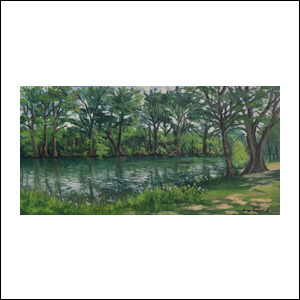 Art work by Jorge Obregon, Medina River at Blanco (Texas), painting, 12 x 24 inches (31 x 61 cm)