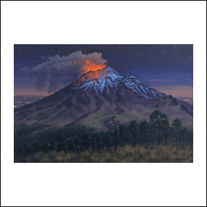 Art work by Jorge Obregon, Popocatepetl, painting, 15 3/4 x 23 1/2 inches (40 x 60 cm)
