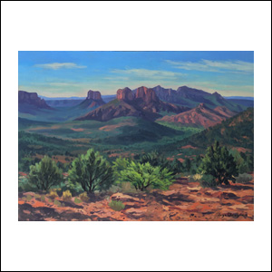 Art work by Jorge Obregon, Sedona, 2018, painting, 16 x 21.75 in (40 x 55 cm)