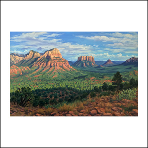 Art work by Jorge Obregon, Sedona, 2018, painting, 23.75 x 35.5 in (60 x 90 cm)
